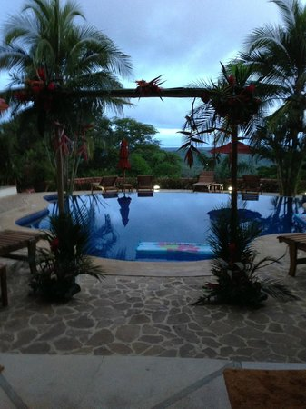 Los Altos de Eros : view of pool and beyond, from main living area towards wedding arch