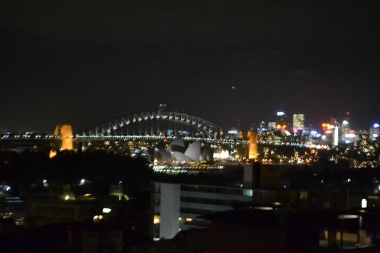 Macleay Hotel: View from room at night.