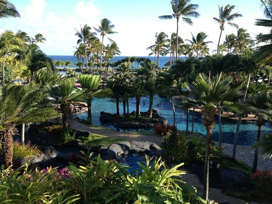 Grand Hyatt Kauai Resort & Spa: Looking down on the pool area from the bar.
