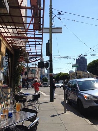 Caffe Delucchi : Looking toward the financial district from the North Beach area.