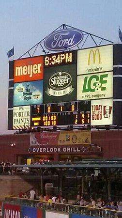 Louisville Slugger Field: view of the scoreboard