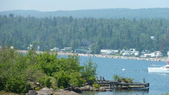 Grand Marais RV Park and Campground : View of campground from across marina