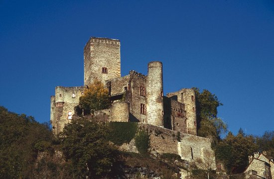 Chateau Belcastel on a cloudless day