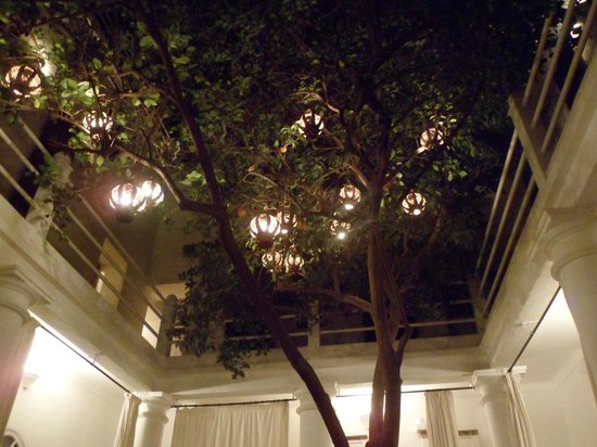 Hotel du Tresor: Beautiful tree with lanterns in the middle of the hotel