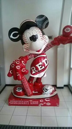 Cincinnati Reds Hall of Fame & Museum: reds Mickey mouse in lobby