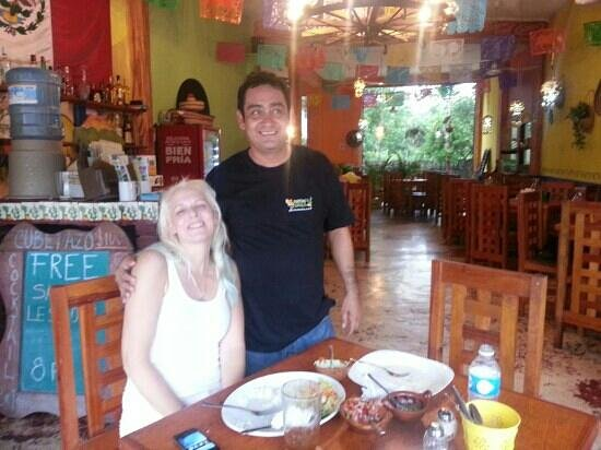 Panchos Grill: My girlfriend and the very nice owner,  Pancho