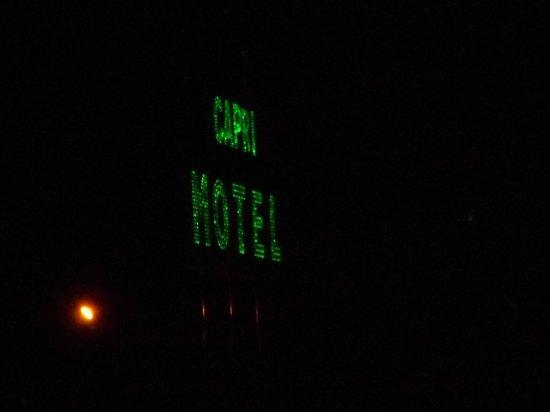 Capri Motel : Motel sign the night we came in