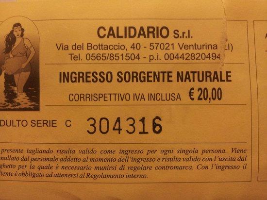 Venturina, Italy: Biglietto di ingresso. giornaliero €. 20 .