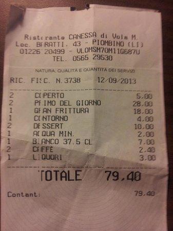 Baratti, Italia: Il conto
