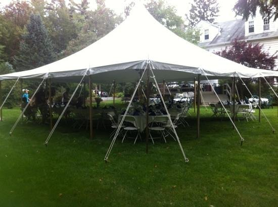 Mountaintop Lodge at Lake Naomi: Back lawn set up with catering tent.