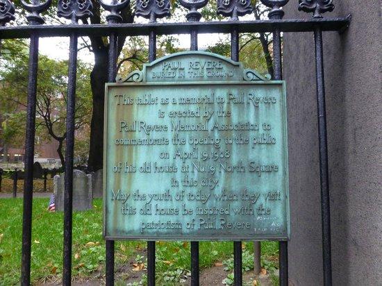 Granary Burying Ground: Revere Plaque