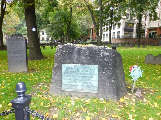 Granary Burying Ground: Samuel Adams' grave with the Boston Massacre Victims' stone to the left