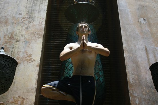 The Baray Villa: Yoga posing on the cool waterfall