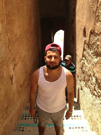 El Badi Palace: Son walking up stairs to terraced area