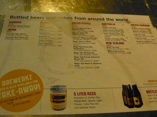 Brewerkz: Another drink menu