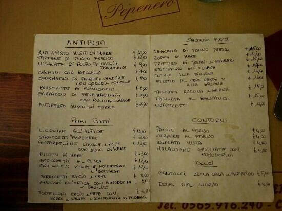 Osteria Pepenero: vasto menu...