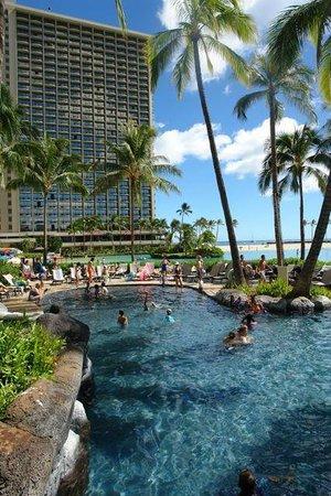 Hilton Hawaiian Village Waikiki Beach Resort: View Towards the Rainbow Tower From One of the Resort Pools