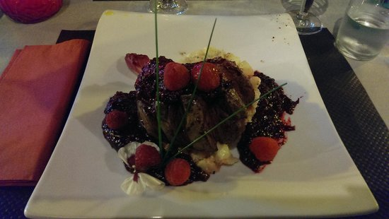 Le Canard Royal: Duck breast with raspberry coulis