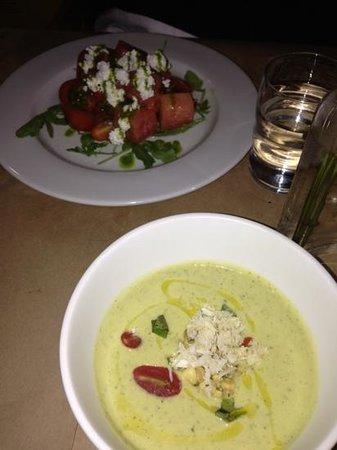 Urban Kitchen: watermelon tomato feta salad & chilled zucchini soup w crab meat