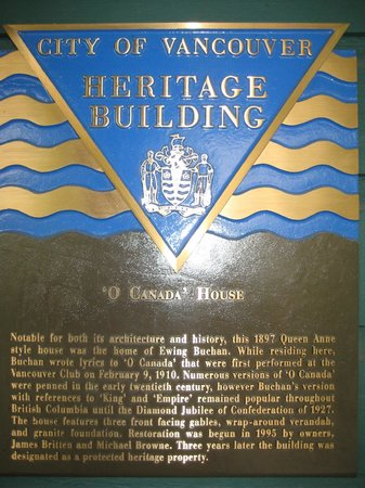 O Canada House: Heritage Building plaque placed on the hotel