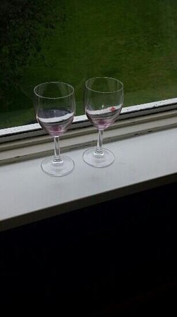 Britannia Leeds Bradford Airport : glasses enjoying their 3rd day on the windowsill!