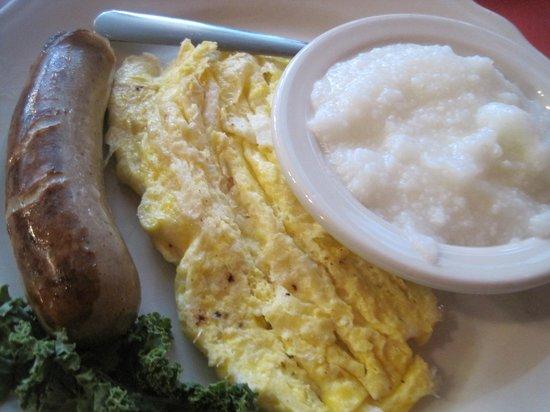 Schilo's Delicatessen: Sausage, eggs + grits at Schilo's.