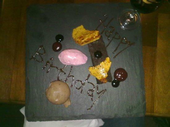 Pan Haggerty: A special Birthday Dessert - Beetroot and chocolate cake, balsamic gel, cinder toffee dark choco