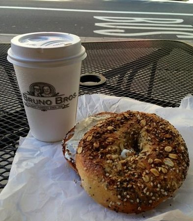 Club Quarters Hotel in Philadelphia: fresh everything bagel and fresh roasted coffee !