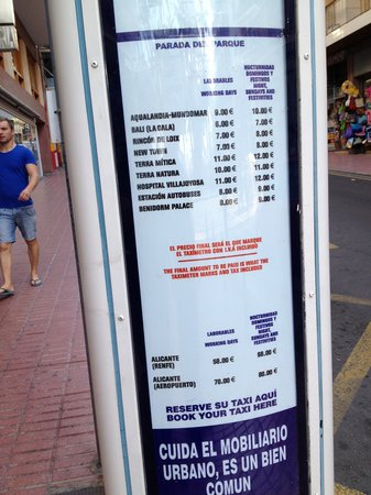 Pension La Orozca: Taxi Prices -   Get the express bus to airport, so much cheaper and only takes 45  minutes