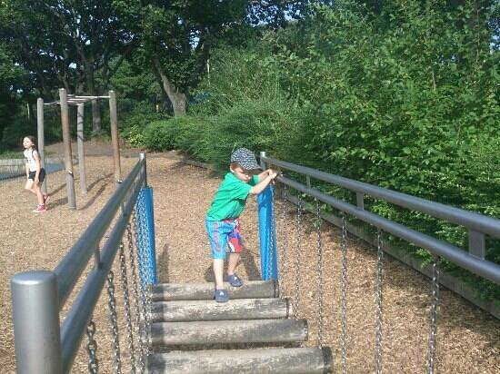 South and North Marine Parks: my son on the rickety rackety bridge