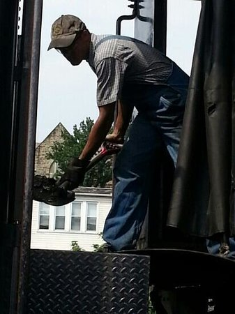 Western Maryland Scenic Railroad: Shoveling coal into the steam engine