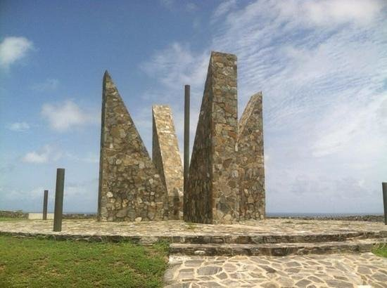 monument at point udall. had to be this large so locals couldnt steal or break it.