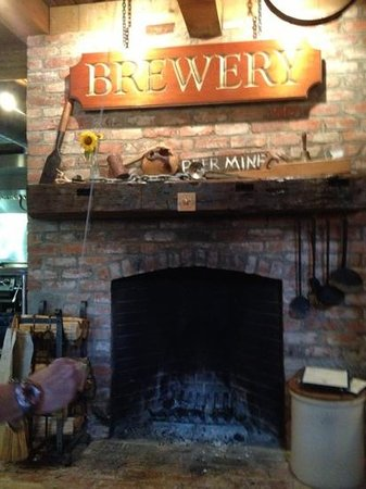 The Watershed Tavern at the Boothbay Craft Brewery: cool fireplace