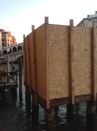 "Al Ponte Antico Hotel: the ""sweeping"" view of Rialto Bridge from room 108. This large box obstructed our view and we we"