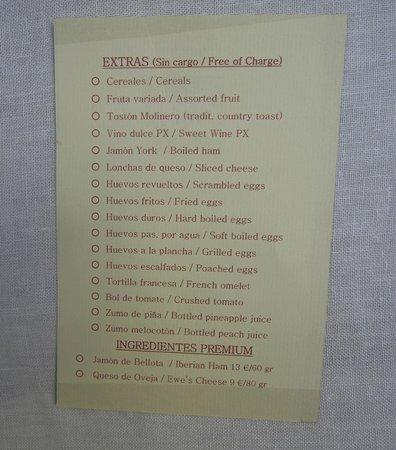 Hotel La Llave de la Jurderia: Breakfast menu . . . most items complimentary