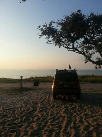 Frisco Woods Campground: looking towards Pamlico Sound from our camp site.