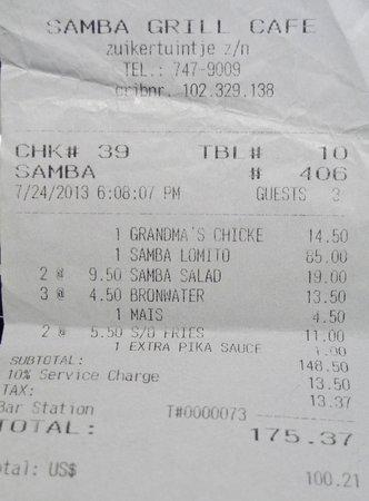 Samba Grill Cafe: The Bill