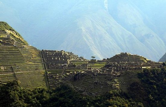 Aguas Calientes, Peru: View of Machu Picchu from the top of Putucusi