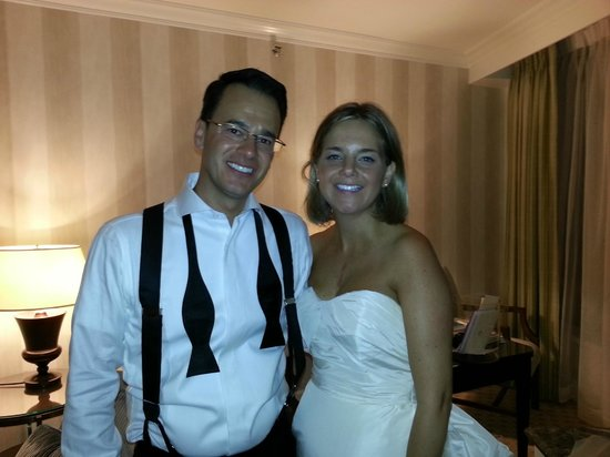 Four Seasons Hotel Boston: My wife and I in the State Suite after our wedding reception!