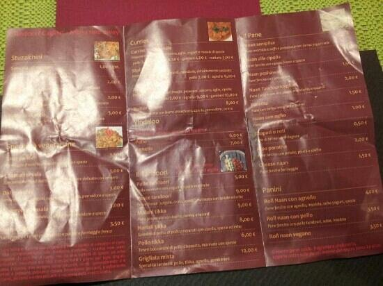 Tandoori Indian Food : menu