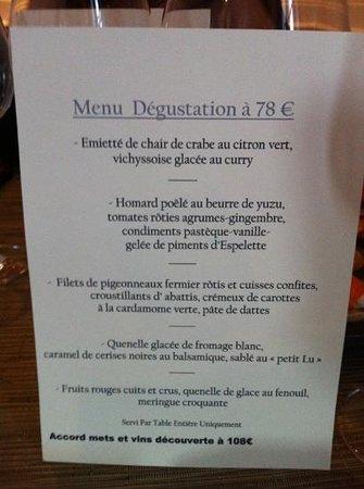 Les Rosiers : menu