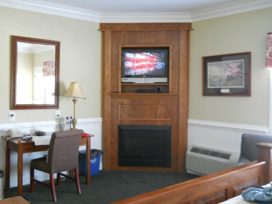Smithfield Station: Our tv and fireplace