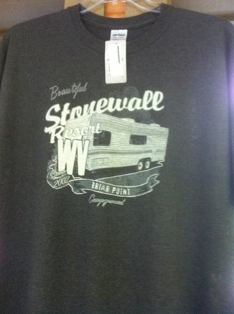 Stonewall Resort: T-shirt for sale where you check in to camp.