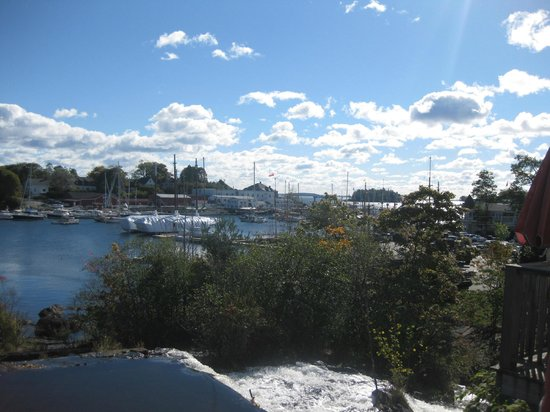 View of Camden Harbor from the back door, Marriner's Restaurant, Camden, ME