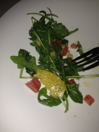 The Seafood Place: Florida Arugula Salad - Fresh & Tasty, partially eaten, size bigger