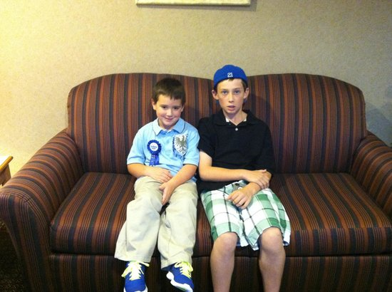 BEST WESTERN PLUS Revere Inn & Suites: My sons in the hall sitting area.