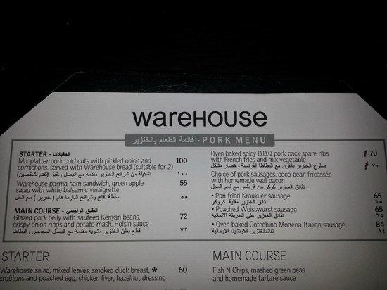 Warehouse: New Pork Menu