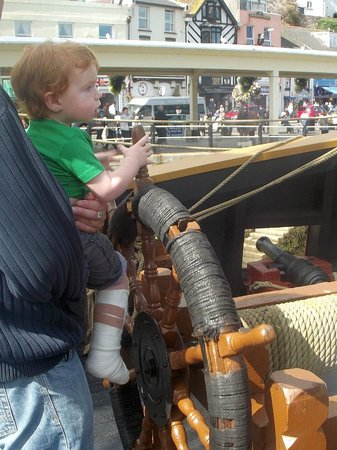 Golden Hind Museum Ship: my boy loved the wheel