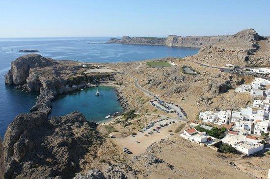 Agios Pavlos Beach (Saint Paul): Baia vista dall'acropoli
