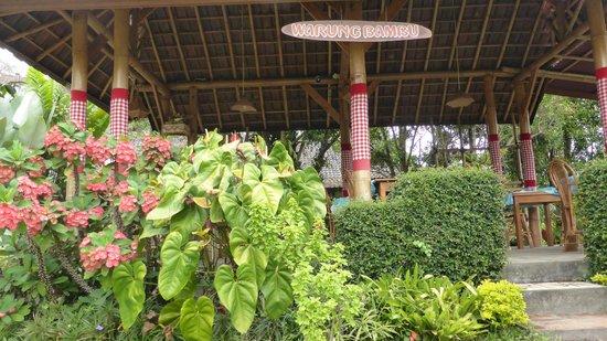 Karangsari Guest House : Comedor en el jardín.